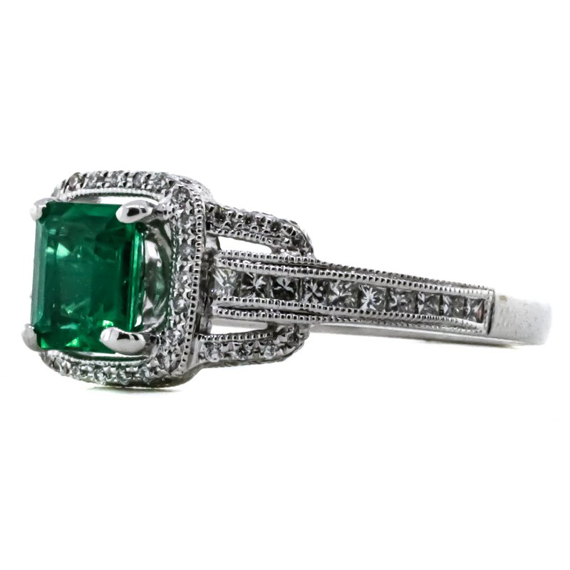 Iroff and Son Jewelers  14K White Gold GIA Diamond and Emerald Cushion Halo Ring SZ 6