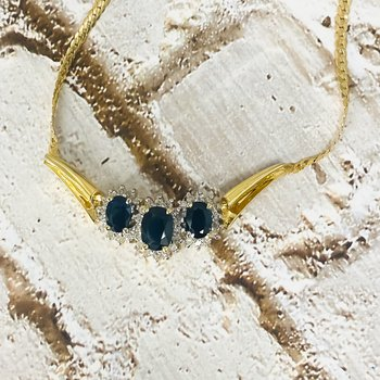 14K Gold Cuban Link Sapphire and Diamond Chevron Pendant