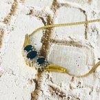 Estate Jewelry 14K Gold Cuban Link Sapphire and Diamond Chevron Pendant