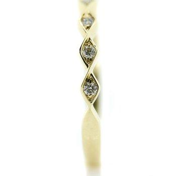14K Yellow Gold Pinched Style Diamond Wedding Band SZ 6