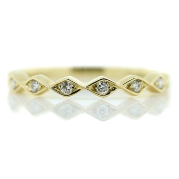 14K Yellow Gold Pinched Style Diamond Wedding Band SZ 6
