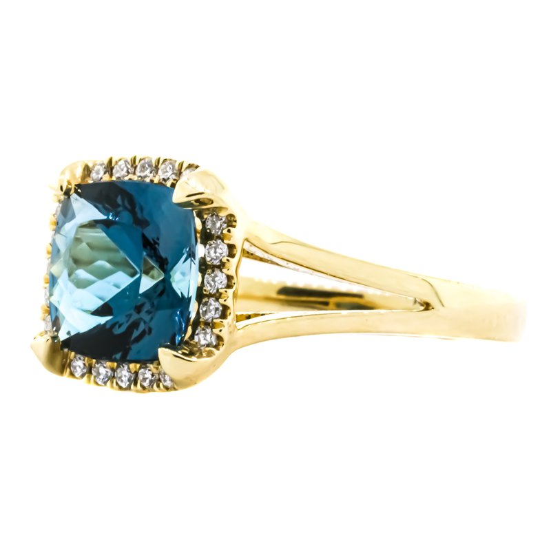 Iroff and Son Jewelers  14K Gold Cushion London Blue Topaz Diamond Halo Ring
