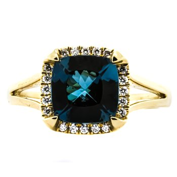 14K Gold Cushion London Blue Topaz Diamond Halo Ring
