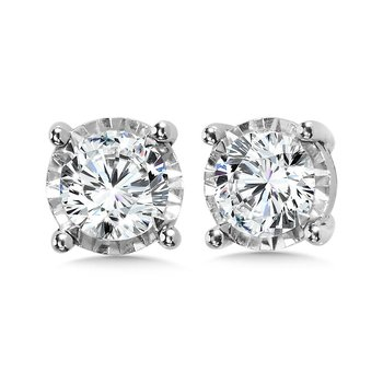 14K White Gold Illusion Set Diamond Stud Earrings