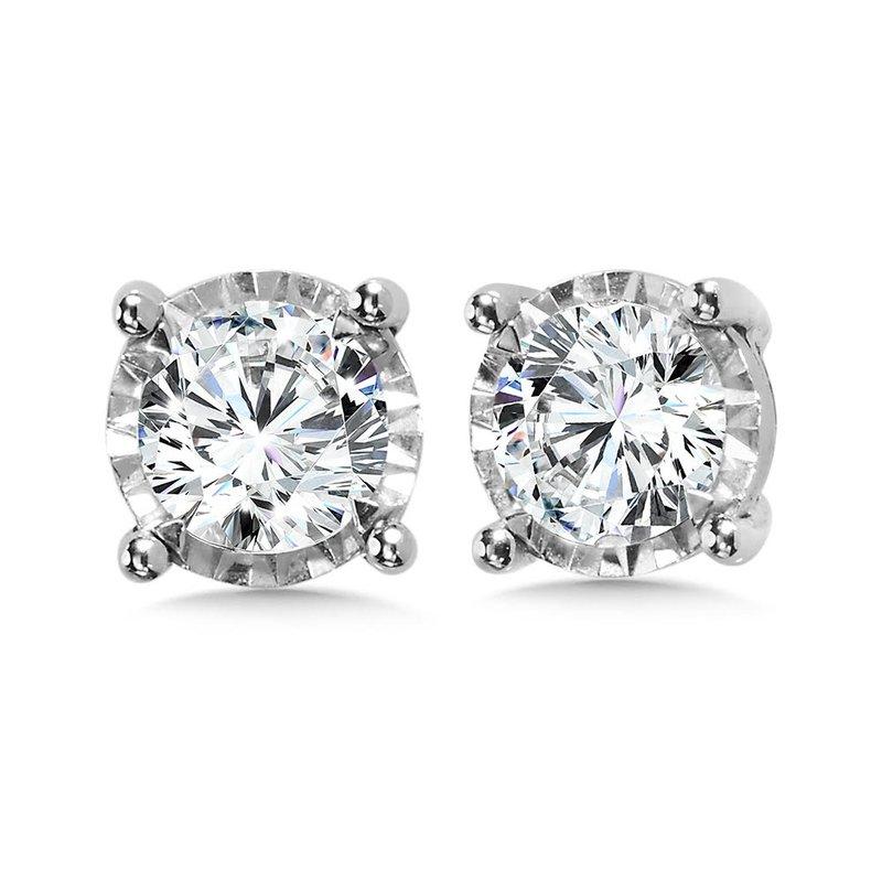 Iroff and Son Jewelers  14K White Gold Illusion Set Diamond Stud Earrings