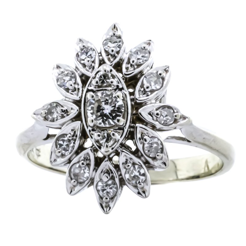 Estate Jewelry 14K White Gold Diamond Floral Cluster Flower Ring