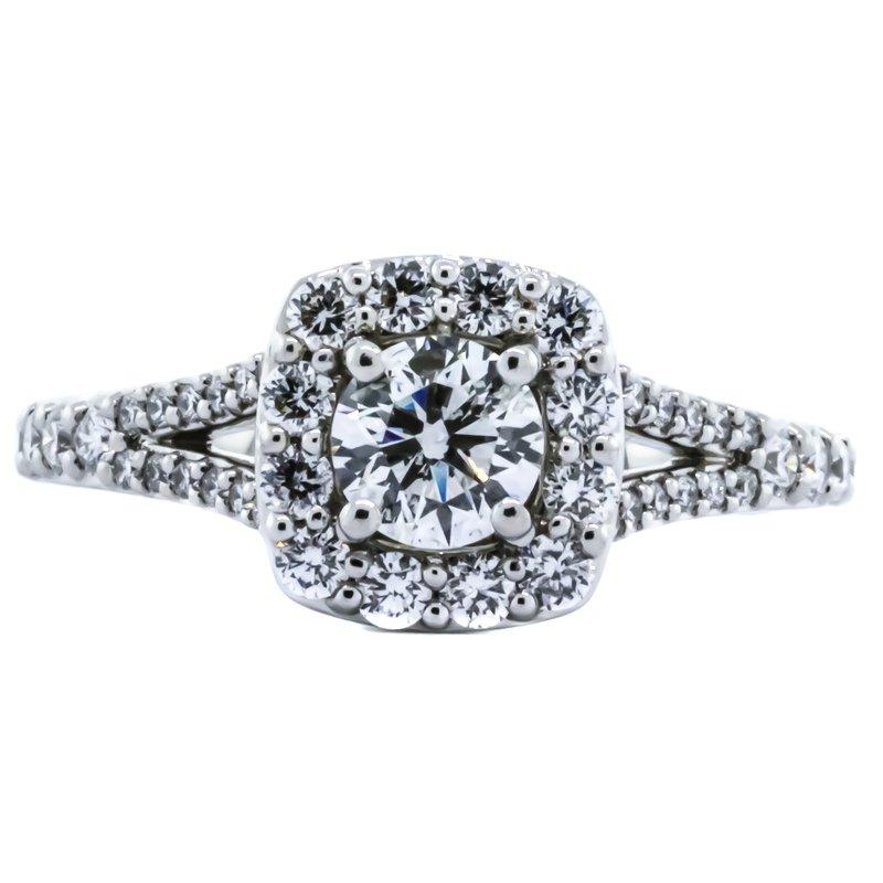 S. Kashi & Sons Bridal 14K White Gold Cushion Halo Split Shank GIA Diamond Engagement Ring