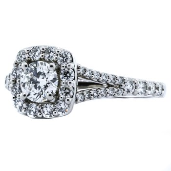 14K White Gold Cushion Halo Split Shank GIA Diamond Engagement Ring