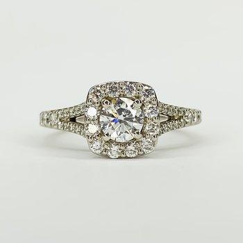 14K White Gold Cushion Halo Split Shank GIA Diamond Engagement Ring