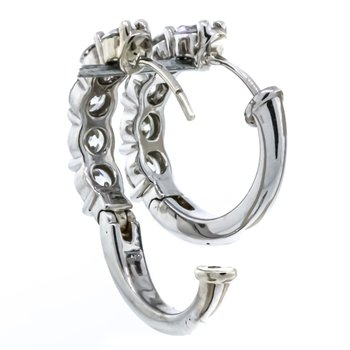 14K White Gold 1.92CTW Diamond Half Hoop Earrings