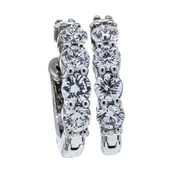 14K White Gold 1.92CTW Diamond Half Hoop Earrings