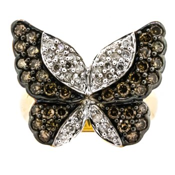 14K Gold 1CTW Fancy Chocolate and White Diamond Butterfly Ring