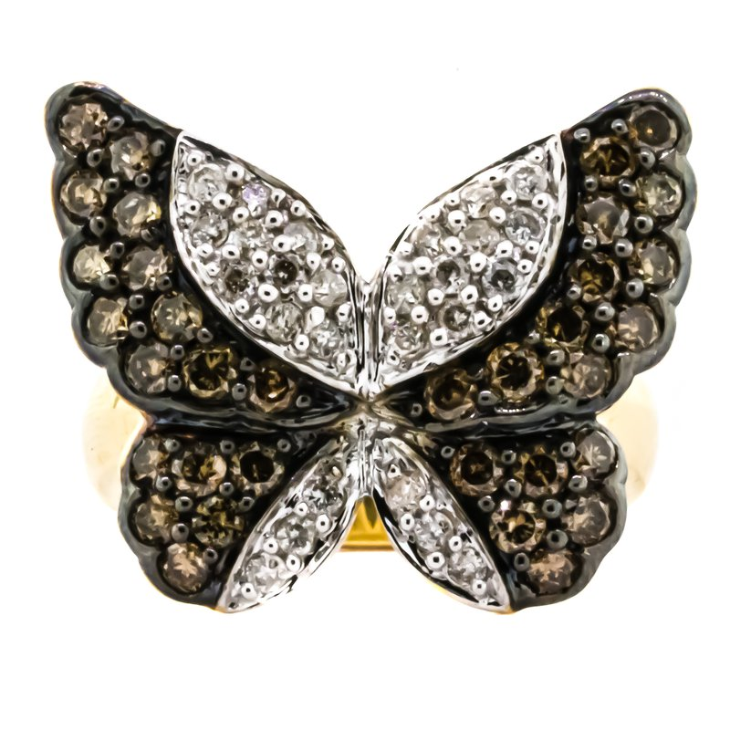Estate Jewelry 14K Gold 1CTW Fancy Chocolate and White Diamond Butterfly Ring