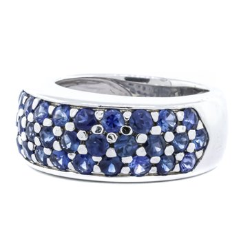 14K White Gold Sapphire Cluster Dome Ring