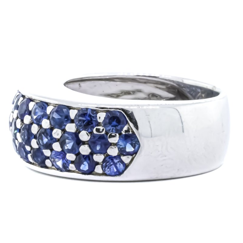 Estate Jewelry 14K White Gold Sapphire Cluster Dome Ring