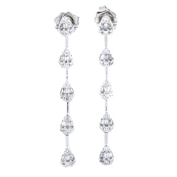 14K White Gold Pear Cluster Baguette and Round Drop Earrings