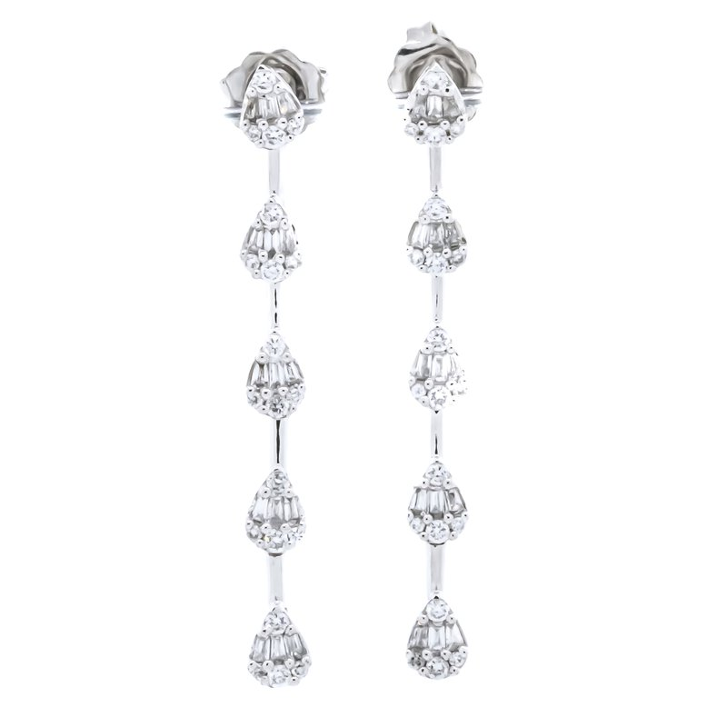 Iroff and Son Jewelers  14K White Gold Pear Cluster Baguette and Round Drop Earrings