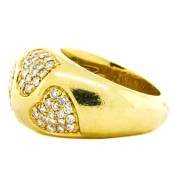 18K Gold Pave Diamond Hearts Dome Ring