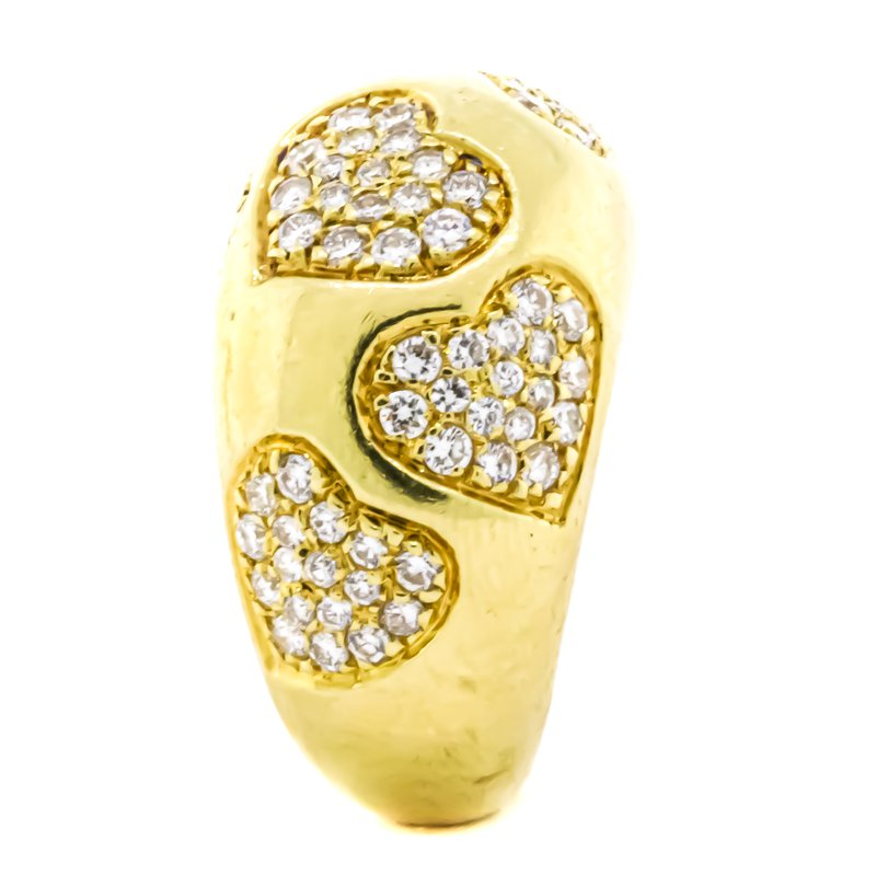 Estate Jewelry 18K Gold Pave Diamond Hearts Dome Ring