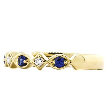 14K Yellow Gold Marquise Milgrain Sapphire and Diamond Wedding Band