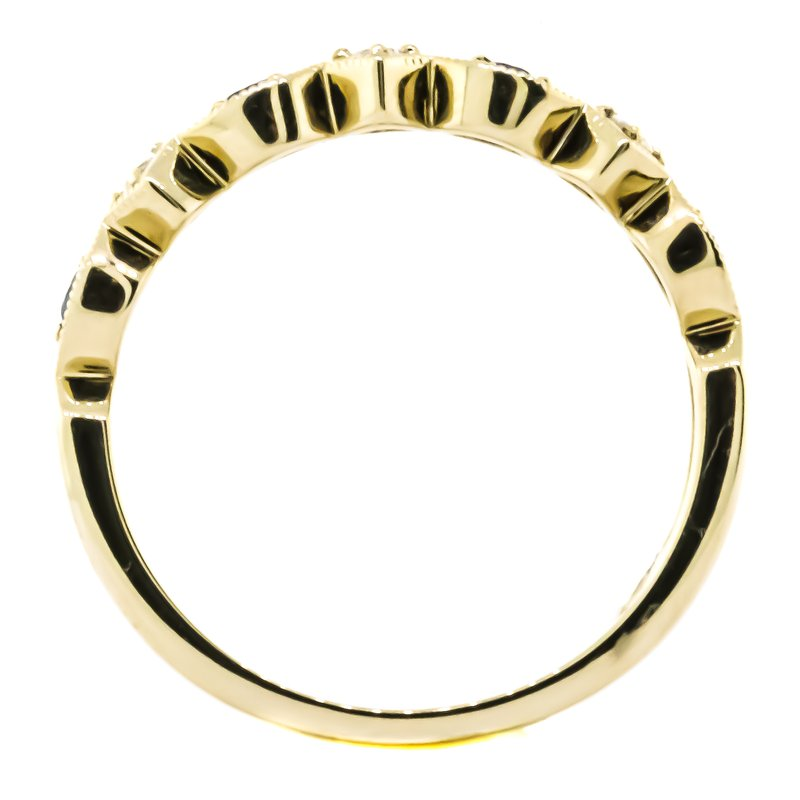 Allison-Kaufman 14K Yellow Gold Marquise Milgrain Sapphire and Diamond Wedding Band