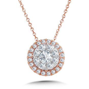 14K Rose Gold Round Cluster Center Diamond Halo Pendant 18""
