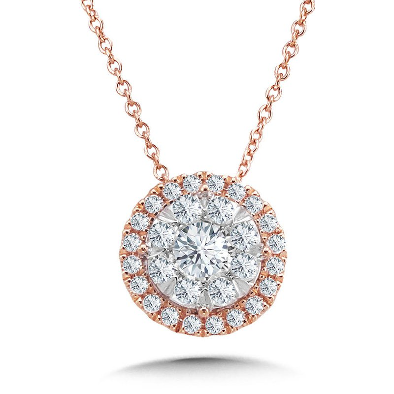 Iroff and Son Jewelers  14K Rose Gold Round Cluster Center Diamond Halo Pendant 18""