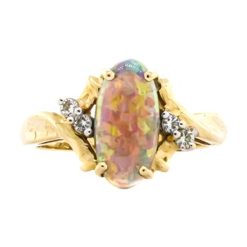 14K Gold Oval Harlequin Opal Diamond Accent Bridge Ring