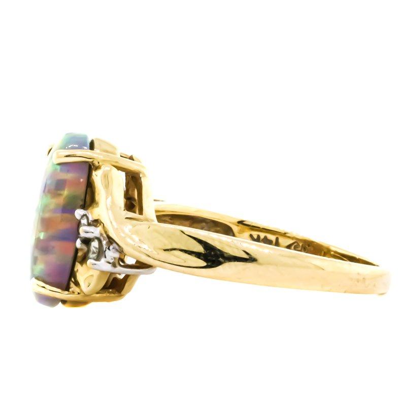Estate Jewelry 14K Gold Oval Harlequin Opal Diamond Accent Bridge Ring