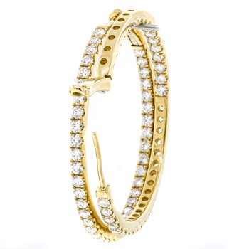 "14K Yellow Gold 2.5mm Wide 1.5"" Inside Outside Diamond Hoop Earrings"
