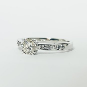 14K White Gold Solitaire Channel Diamond Band GIA Engagement Ring