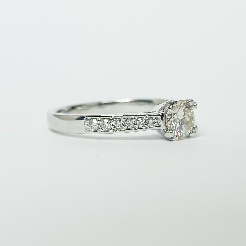 Iroff and Son Jewelers  14K White Gold Solitaire Channel Diamond Band GIA Engagement Ring