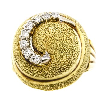 14K Gold Diamond Spiral Diamond Dome Nautilus Shell Ring