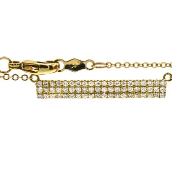 "10K Yellow Gold Bar With 3 Rows of Diamonds Pendant 18"" Adj"