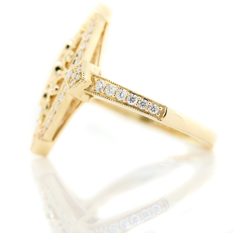 Iroff and Son Jewelers  14K Yellow Gold Marquise Diamond Filigree Antique Ring SZ 7