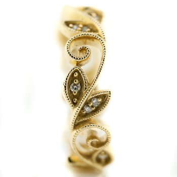 14K Yellow Gold Open Floral Milgrain Diamond Band SZ 6.5