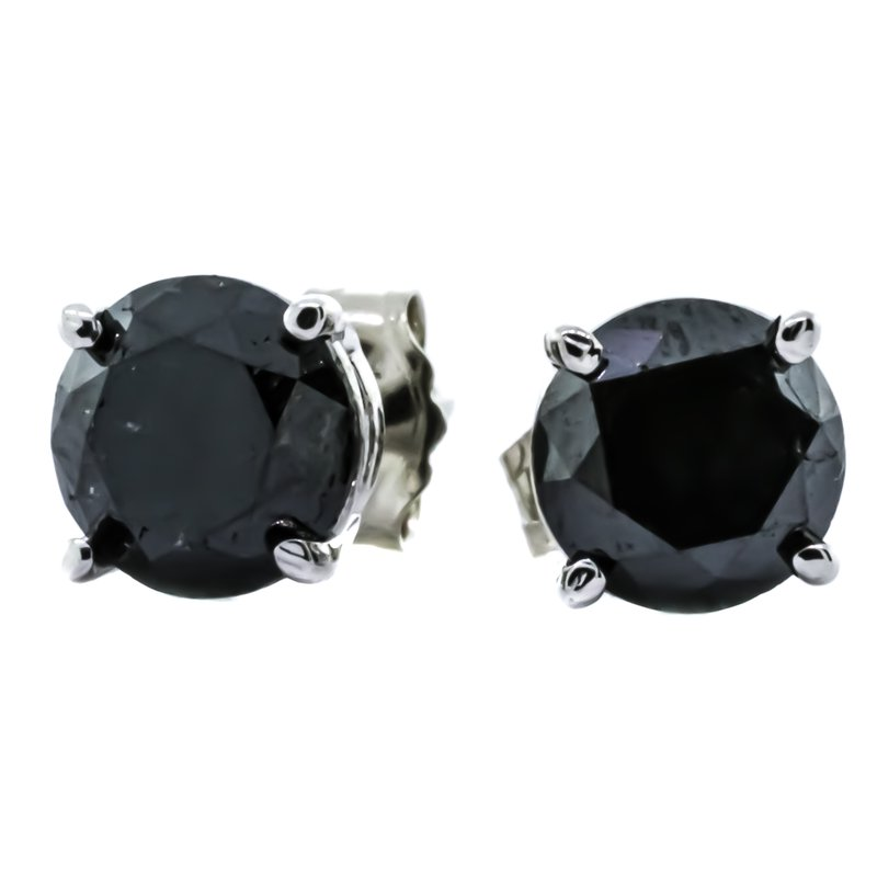 Iroff and Son Jewelers  14K White Gold Black Diamond Round Stud Earrings