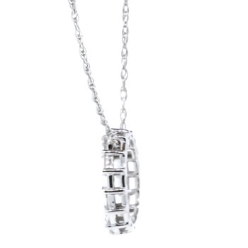 "10K White Gold Baguette Diamonds Open Small Circle Pendant 18"""