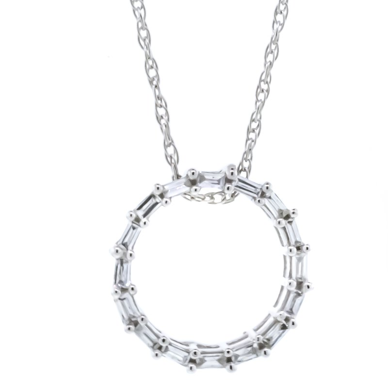 """Iroff and Son Jewelers  10K White Gold Baguette Diamonds Open Small Circle Pendant 18"""""""