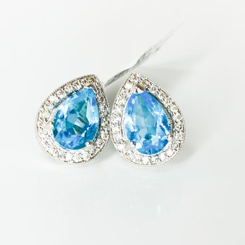 14K White Gold Pear Blue Topaz Diamond Halo Stud Earrings