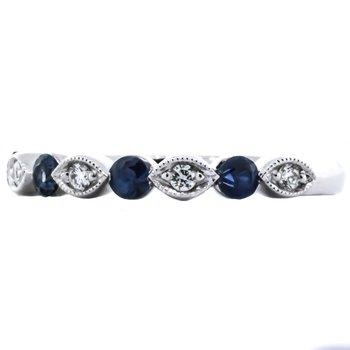 14K White Gold Marquise and Round Alternating Sapphire and Diamond Wedding Band