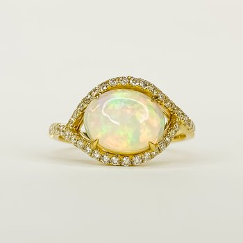 14K Gold Ethiopian Opal Bypass Diamond Halo Ring Size 7