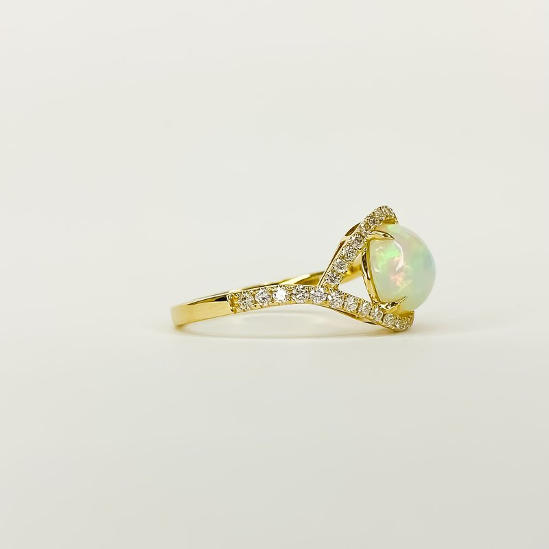 Iroff and Son Jewelers  14K Gold Ethiopian Opal Bypass Diamond Halo Ring Size 7