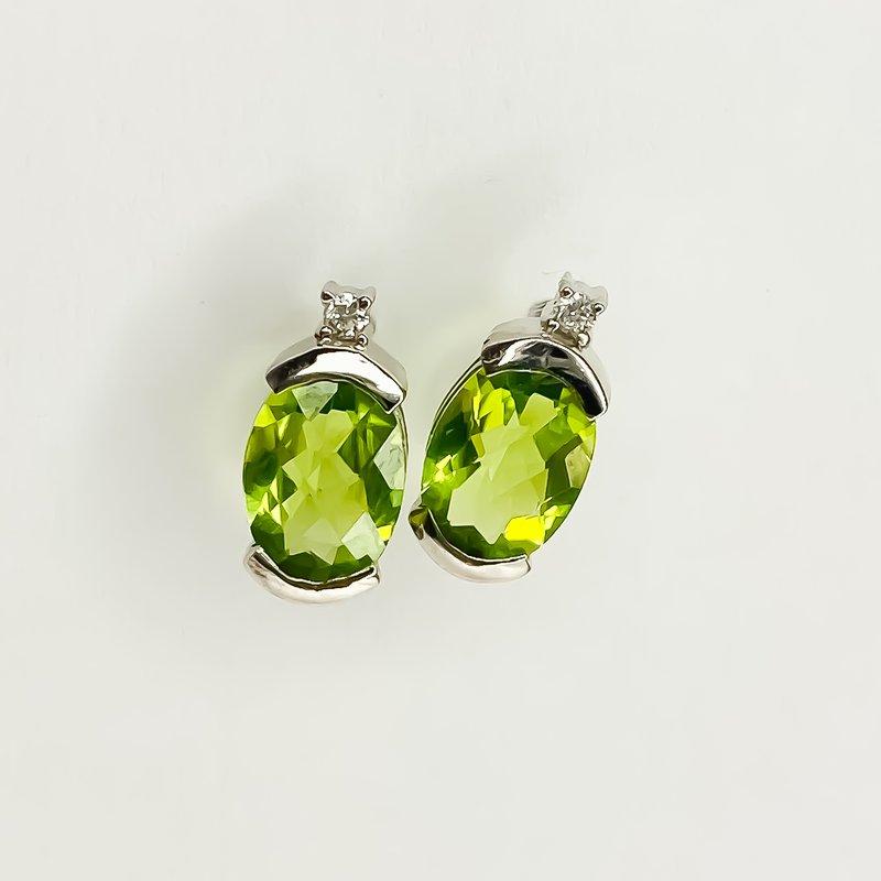 Iroff and Son Jewelers  14K White Gold 1.43TW Peridot Diamond Oval Stud Earrings