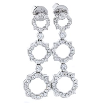 18K White Gold 3 Tier Drop With Scallop Diamond Earrings