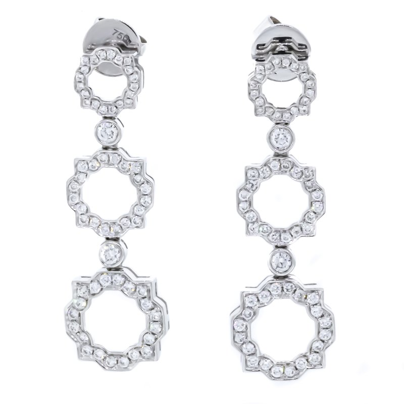 Iroff and Son Jewelers  18K White Gold 3 Tier Drop With Scallop Diamond Earrings