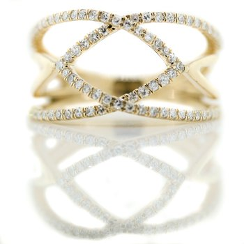 10K Yellow Gold Open Arrow Wide Diamond Fashion Ring SZ 5