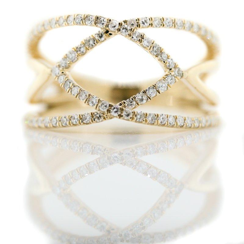 Iroff and Son Jewelers  10K Yellow Gold Open Arrow Wide Diamond Fashion Ring SZ 5