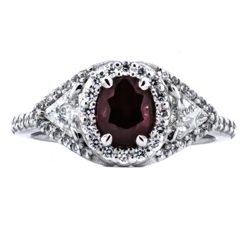 18K White Gold Oval Ruby Center and Diamond Accent Statement Ring SZ 7