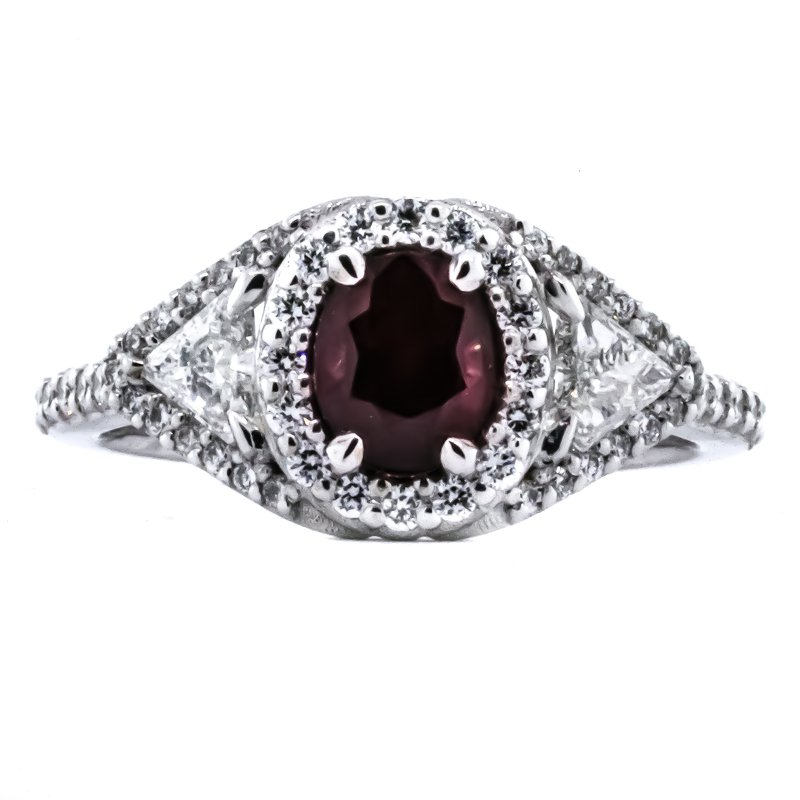 Iroff and Son Jewelers  18K White Gold Oval Ruby Center and Diamond Accent Statement Ring SZ 7
